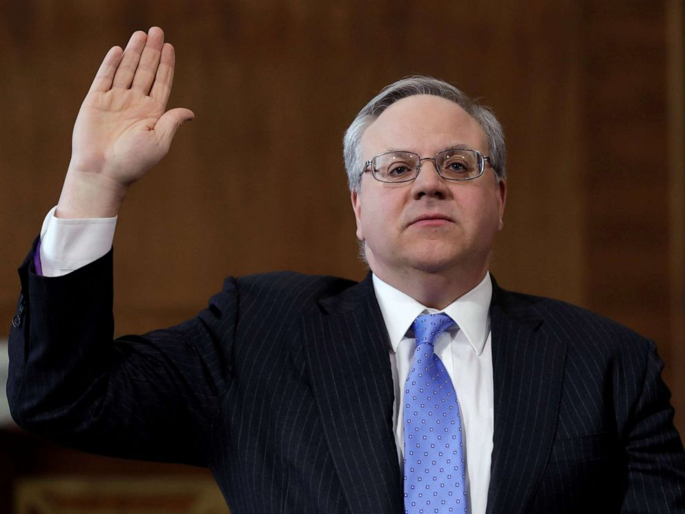 PHOTO: Former energy lobbyist David Bernhardt is sworn in before a Senate Energy and Natural Resources Committee hearing on his nomination of to be Interior secretary, on Capitol Hill in Washington, D.C., March 28, 2019.