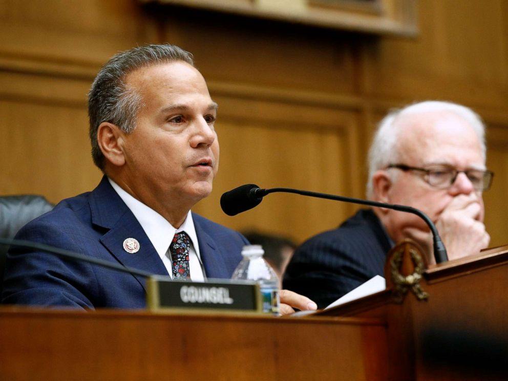 PHOTO: Rep. David Cicilline,left, chair of the House Judiciary antitrust subcommittee, speaks alongside ranking member, Rep. Jim Sensenbrenner, during a House Judiciary subcommittee hearing, July 16, 2019, on Capitol Hill in Washington.