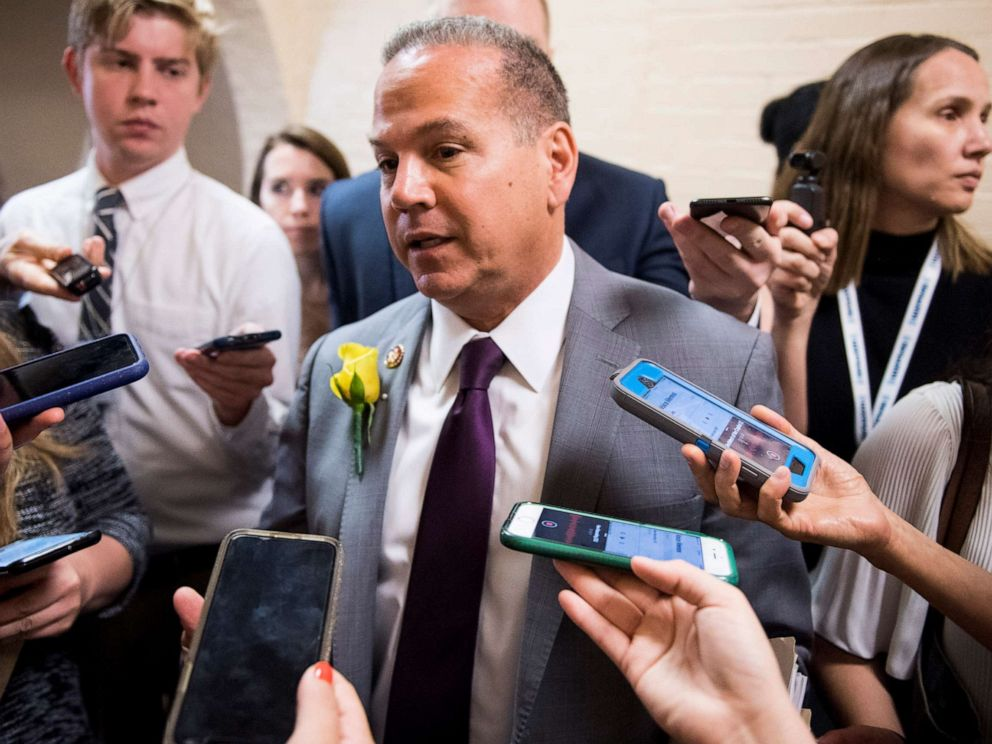 PHOTO: Rep. David Cicilline speaks with reporters as he leaves the House Democratic caucus meeting in the Capitol on May 21, 2019.