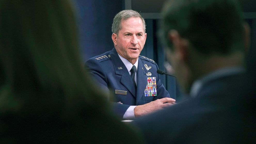 Gen. David L. Goldfein, Chief of Staff of the U.S. Air Force answers questions during a news briefing at the Pentagon, Nov. 9, 2017.