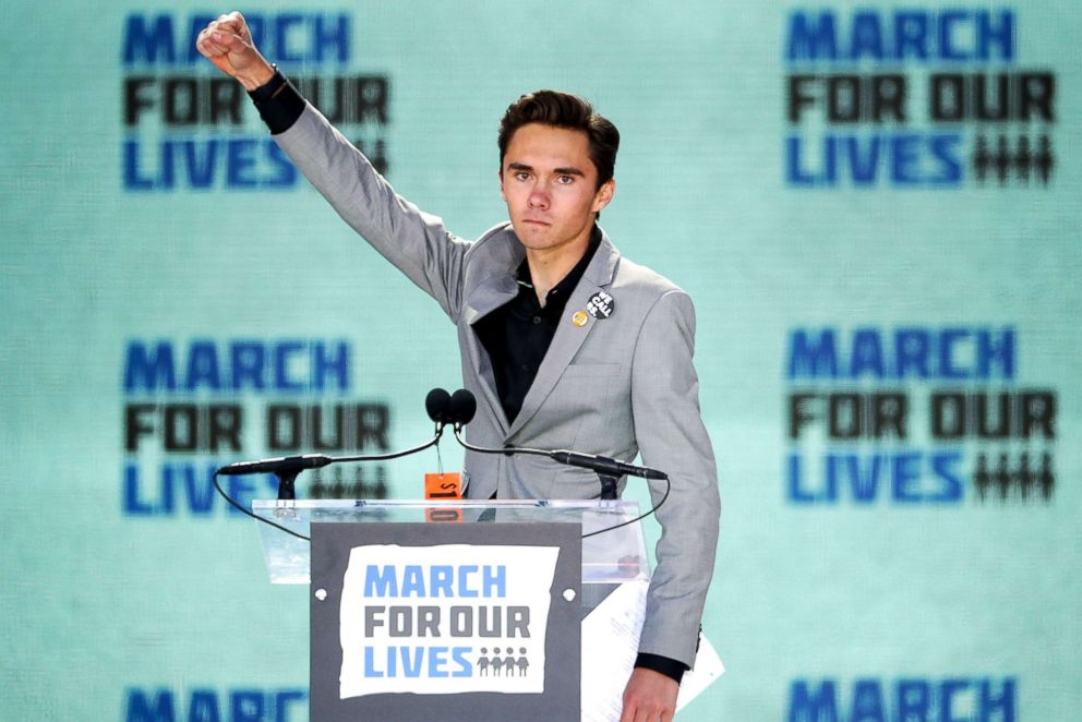 PHOTO: Marjory Stoneman Douglas High School Student David Hogg addresses the March for Our Lives rally, March 24, 2018, in Washington, DC.