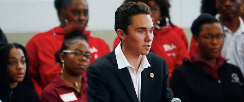 PHOTO: David Hogg, a senior from Marjory Stoneman Douglass High School, speaks during a rally with Thurgood Marshall Academy students in advance of Saturdays March for Our Lives event in Washington, March 22, 2018.