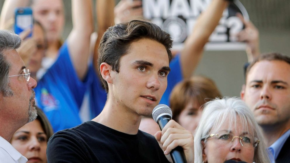 David Hogg, a senior at Marjory Stoneman Douglas High School, speaks at a rally calling for more gun control three days after the shooting at his school, in Fort Lauderdale, Fla., Feb. 17, 2018.