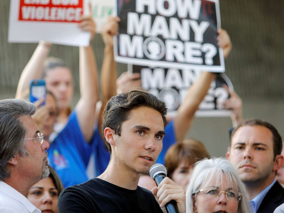 PHOTO: David Hogg, a senior at Marjory Stoneman Douglas High School, speaks at a rally calling for more gun control three days after the shooting at his school, in Fort Lauderdale, Fla., Feb. 17, 2018.