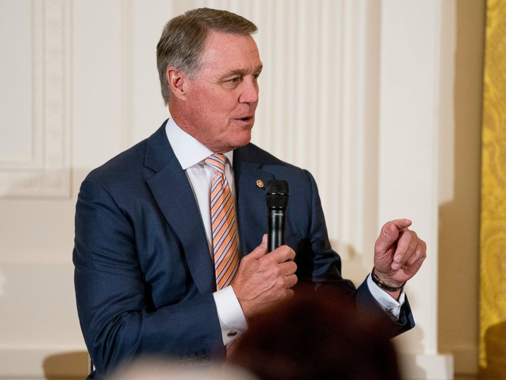 PHOTO: Sen. David Perdue, R-Ga., speaks at a roundtable during an event to salute U.S. Immigration and Customs Enforcement officers and U.S. Customs and Border Protection agents in the East Room of the White House in Washington, Monday, Aug. 20, 2018.