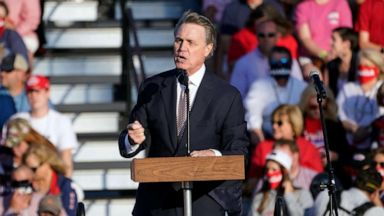 PHOTO: Sen. David Perdue, R-Ga., speaks during a campaign rally for President Donald Trump at Middle Georgia Regional Airport, Friday, Oct. 16, 2020, in Macon, Ga.
