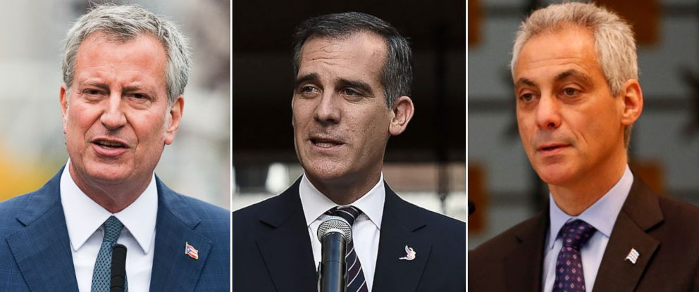 PHOTO: Pictured (L-R) are New York City Mayor Bill de Blasio, Los Angeles Mayor Eric Garcetti and Chicago Mayor Rahm Emanuel.