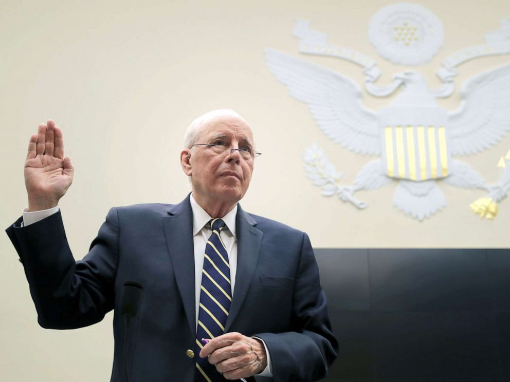 PHOTO: Former Chief White House Counsel John Dean is sworn in before testifying about the Mueller Report to the House Judiciary Committee on Capitol Hill, June 10, 2019.