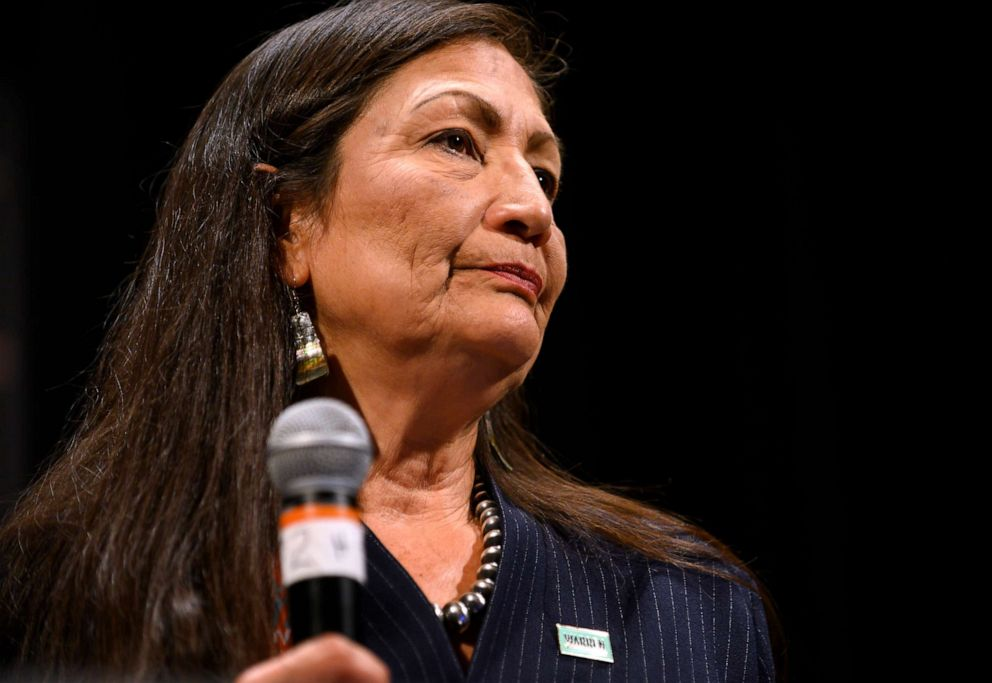 PHOTO: Rep. Deb Haaland speaks at the Frank LaMere Native American Presidential Forum on Aug. 19, 2019 in Sioux City, Iowa.
