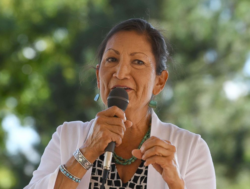 PHOTO: Native American candidate Deb Haaland who is running for Congress in New Mexicos 1st congressional district seat for the upcoming mid-term elections, speaks in Albuquerque, New Mexico, Oct. 1, 2018.