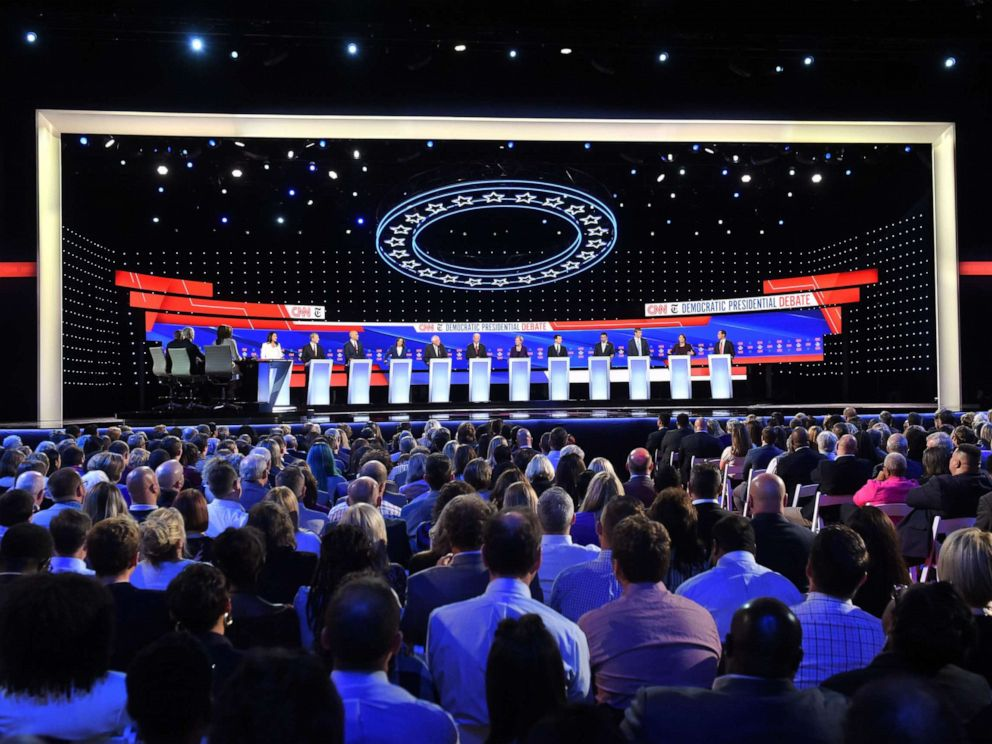 PHOTO: Democratic candidates participate of the fourth Democratic primary debate of the 2020 presidential campaign season co-hosted by The New York Times and CNN at Otterbein University in Westerville, Ohio on October 15, 2019.