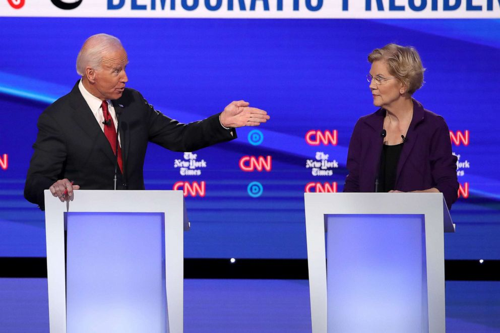 PHOTO: Former Vice President Joe Biden challenges Sen. Elizabeth Warren (D-MA) during the Democratic Presidential Debate at Otterbein University on October 15, 2019 in Westerville, Ohio.