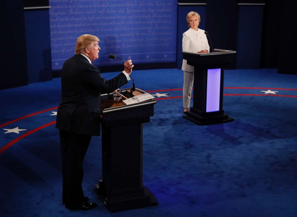 PHOTO:Republican nominee Donald Trump speaks as Democratic nominee Hillary Clinton looks on during the final presidential debate in Las Vegas, Oct. 19, 2016.