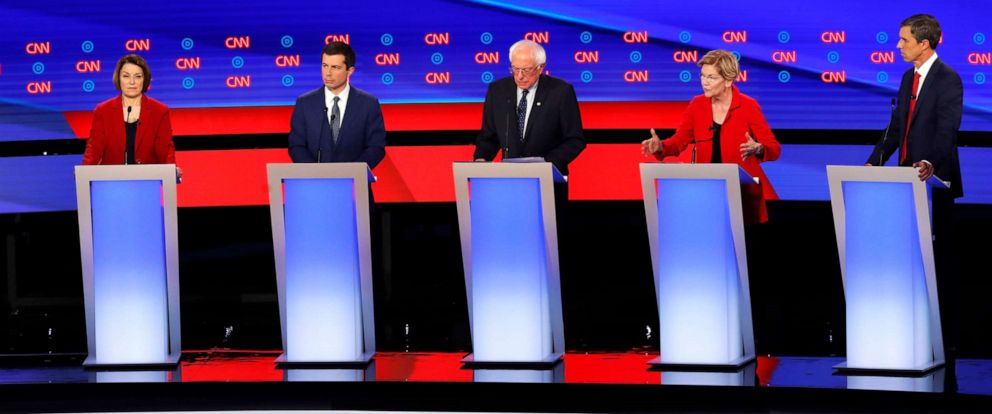 PHOTO:Sen. Candidates participate in the first of two Democratic presidential primary debates, July 30, 2019, in Detroit.