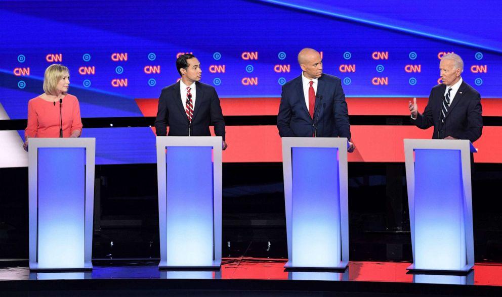 PHOTO: Democratic presidential hopefuls Sen. Kirsten Gillibrand,Julian Castro, Sen. Cory Booker and former Vice President Joe Biden speak during the second round of the second Democratic primary debate in Detroit, July 31, 2019.