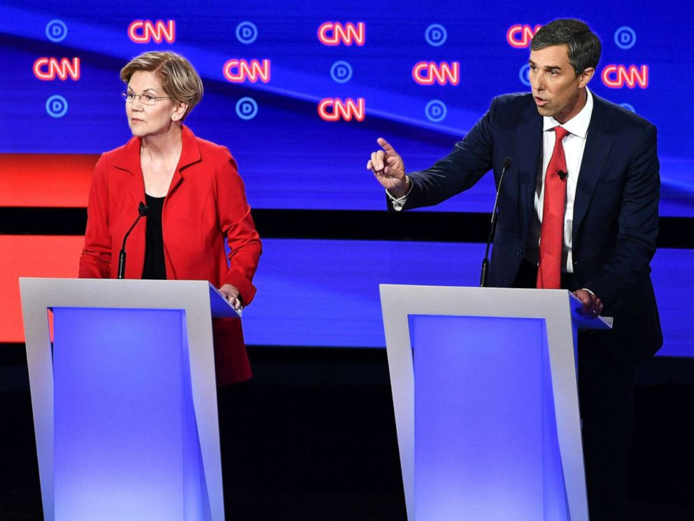 PHOTO: Democratic presidential hopefuls Sen. Bernie Sanders, Sen. Elizabeth Warren and former Rep. Beto ORourke participate in the first round of the second Democratic primary debate in Detroit, July 30, 2019.