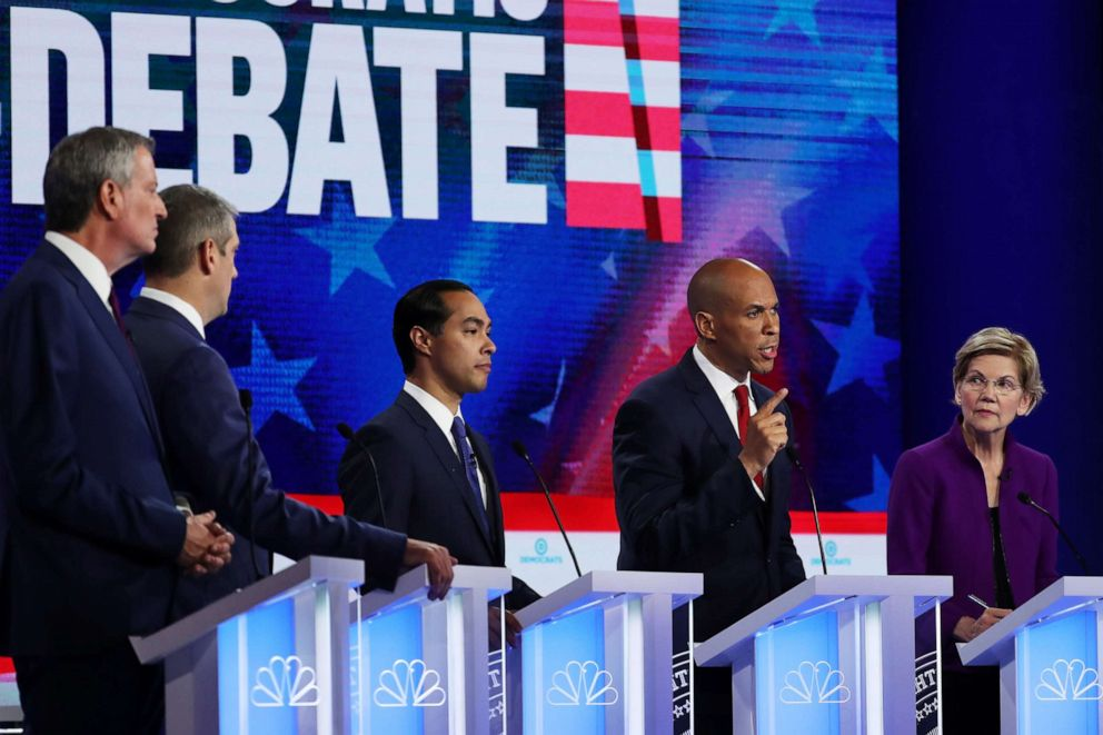 PHOTO: 2020 democratic presidential candidates participate in the first Democratic primary debate hosted by NBC News at the Adrienne Arsht Center for the Performing Arts in Miami, Florida, June 26, 2019.