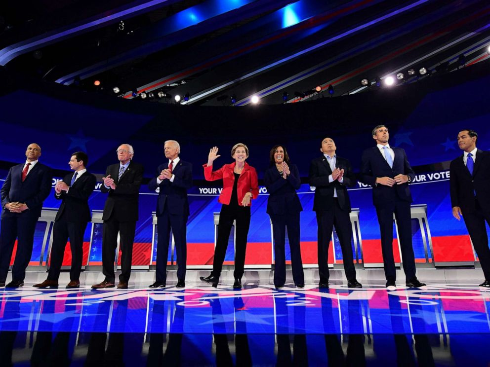 PHOTO: Democratic presidential hopefuls stand onstage ahead of the third Democratic primary debate of the 2020 presidential campaign season hosted by ABC News in partnership with Univision at Texas Southern University in Houston on Sept. 12, 2019.