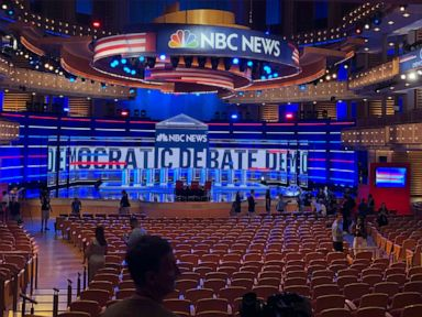 PHOTO: The venue of Wednesdays Democratic debate is pictured on June 26, 2019, in Miami.