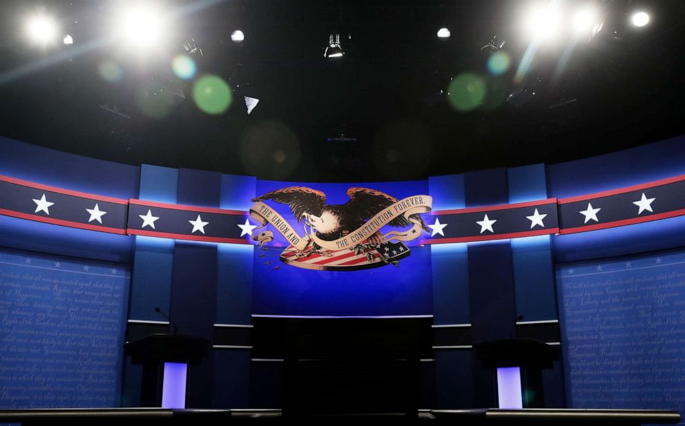hollywood PHOTO: A general view of the stage prior to the start of the third U.S. presidential debate at the Thomas & Mack Center on Oct. 19, 2016 in Las Vegas, Nev.