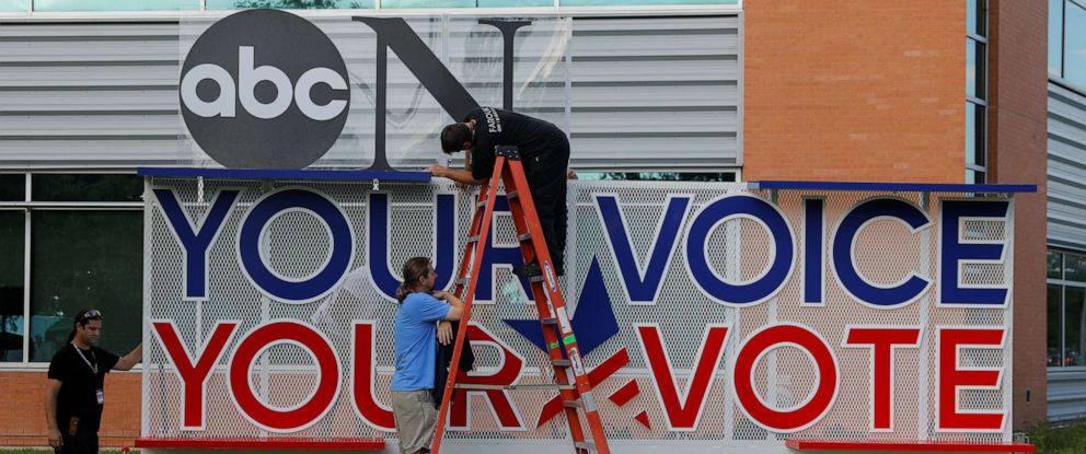 PHOTO: Works crews set up sign next to the debate hall as preparations continue for the Democratic Presidential Debate in Houston, Texas, Sept. 11, 2019.