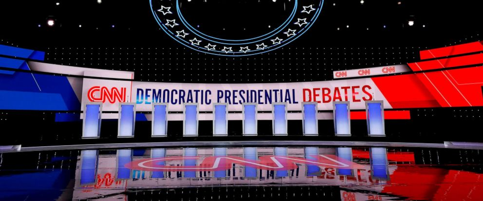PHOTO: Workers prepare the debate stage at the Fox Theater in Detroit, Michigan, on July 30, 2019, ahead of the 2nd Democratic Presidential Debate.