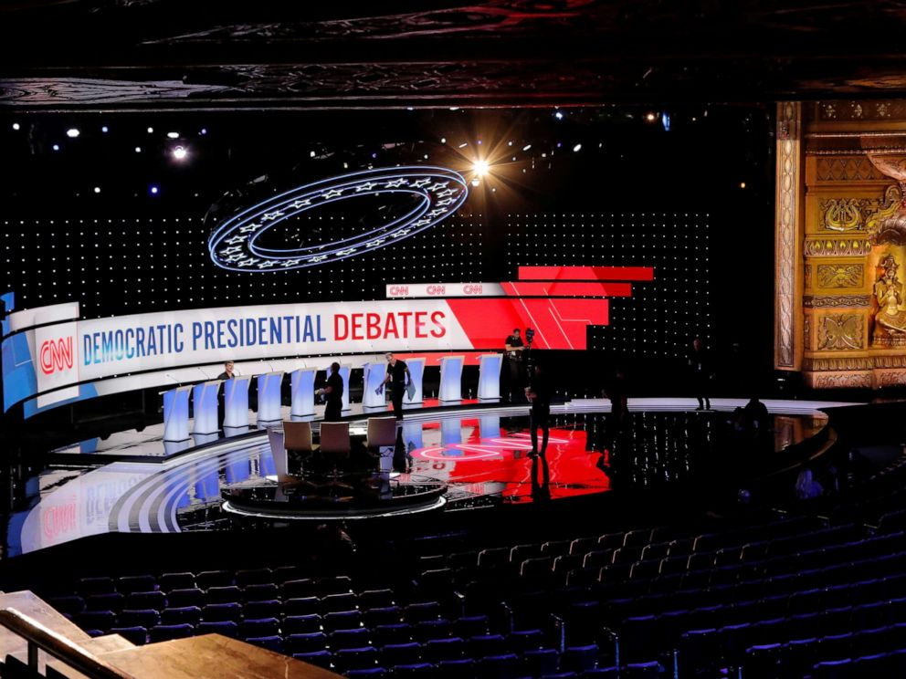 PHOTO: Crews prepare the stage for the second Democratic 2020 presidential candidates debate in Detroit, Mich., July 30, 2019.