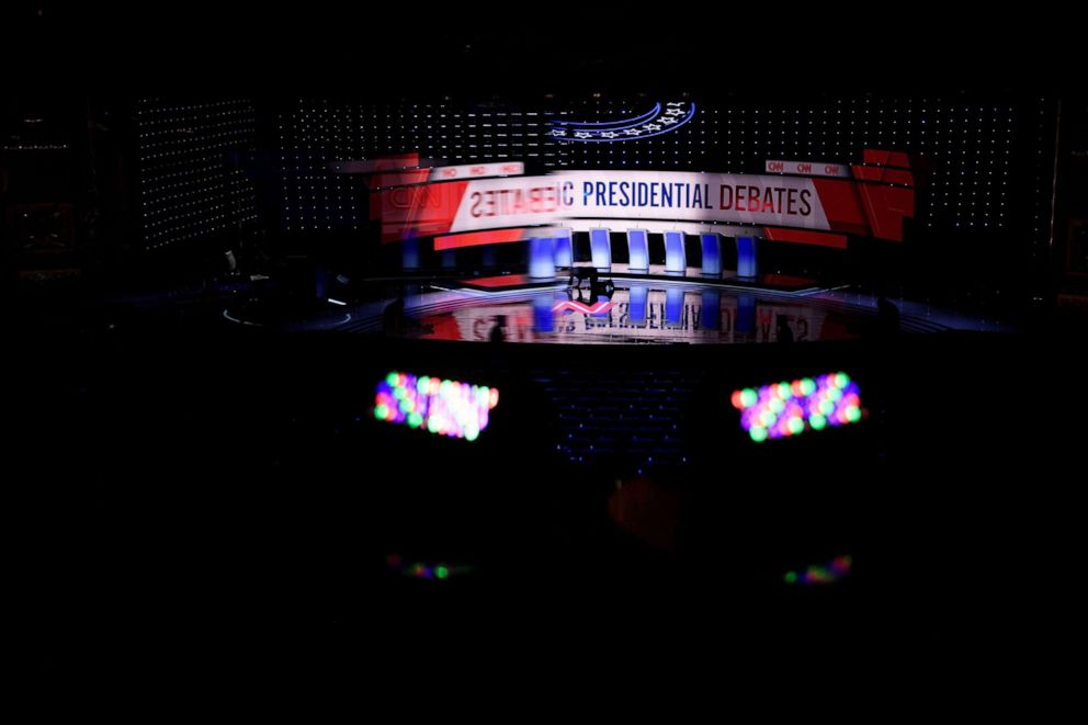 PHOTO: The debate stage at the Fox Theater in Detroit, Mich., July 30, 2019, ahead of the 2nd Democratic Presidential Debate.