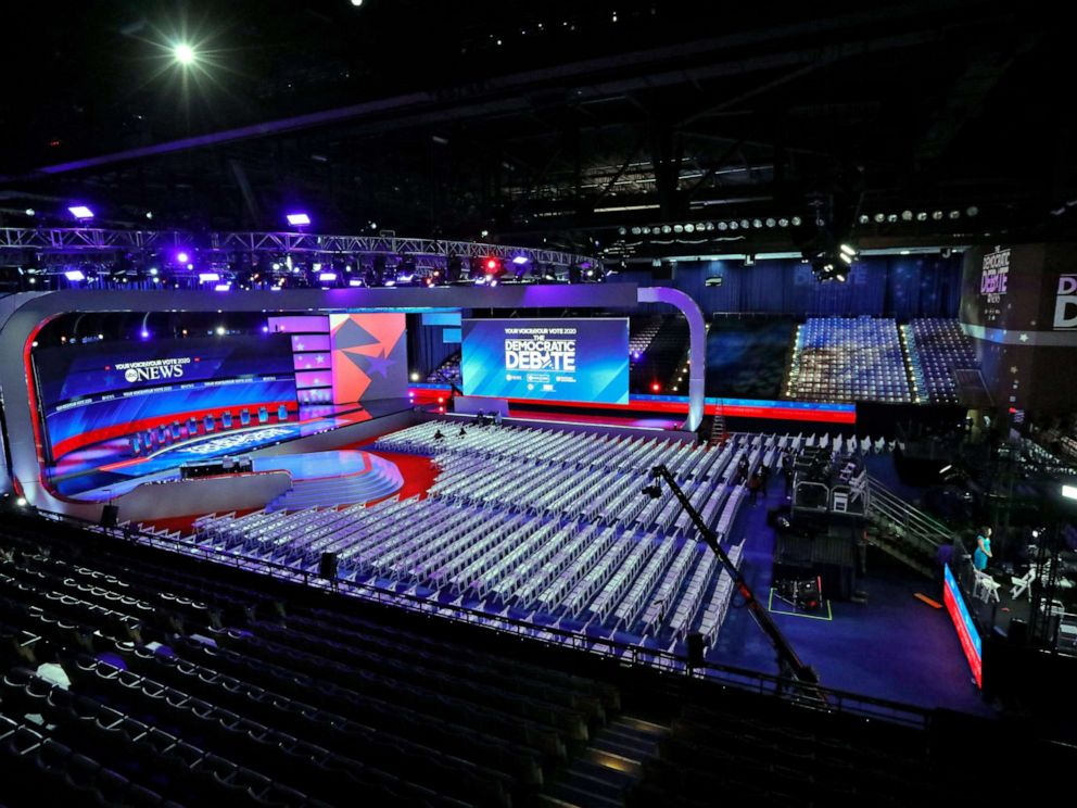 PHOTO: The stage is set for the Democratic debate at Texas Southern Universitys Health & PE Center in Houston, Sept. 12, 2019.