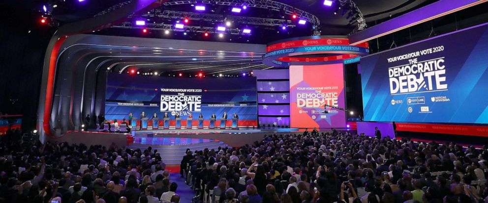 PHOTO: Democratic presidential candidates appear on stage before the start of the Democratic Presidential Debate at Texas Southern Universitys Health and PE Center on Sept. 12, 2019 in Houston.