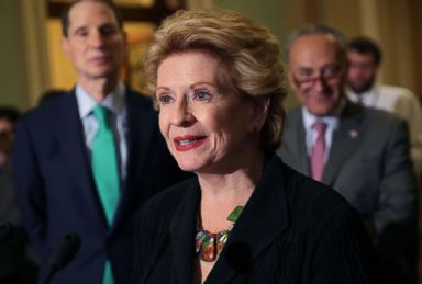 PHOTO: Sen. Debbie Stabenow talks with reporters following the Senate Democratic policy luncheon at the U.S. Capitol, Aug. 1, 2017, in Washington.