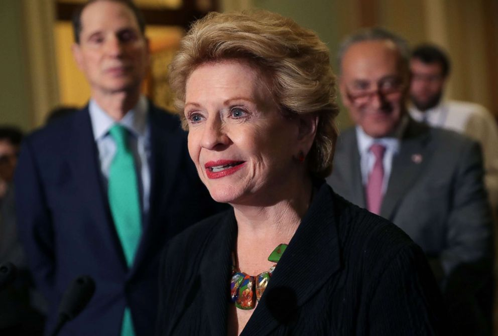 Sen. Debbie Stabenow talks with reporters following the Senate Democratic policy luncheon at the U.S. Capitol, Aug. 1, 2017, in Washington.