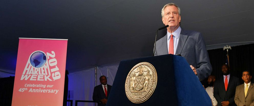 "PHOTO: New York City Mayor Bill de Blasio speaks onstage honor of Memphis 200th Anniversary celebrating ""A New Century Of Soul"" between two iconic communities at Gracie Mansion, July 18, 2019, in New York."