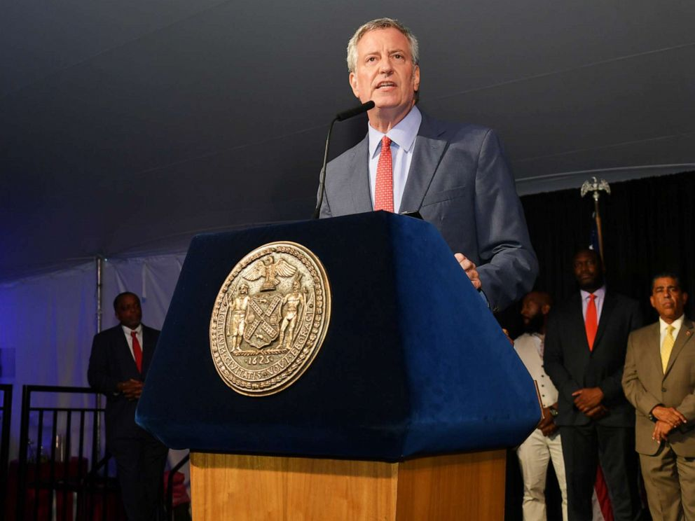 PHOTO: New York City Mayor Bill de Blasio speaks onstage honor of Memphis 200th Anniversary celebrating A New Century Of Soul between two iconic communities at Gracie Mansion, July 18, 2019, in New York.