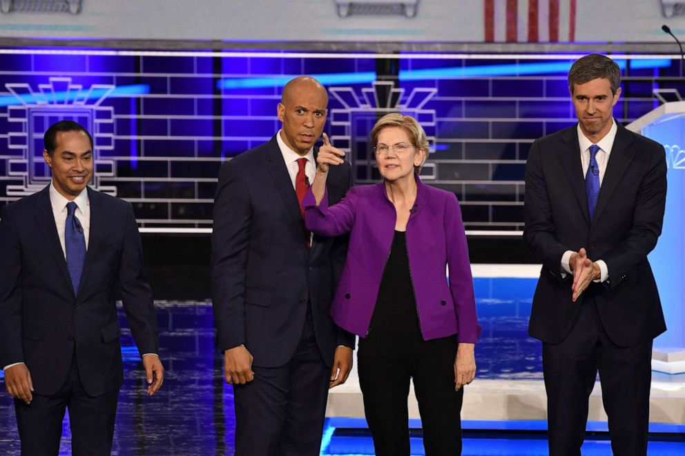 PHOTO: Julian Castro, Sen. Cory Booker, Sen. Elizabeth Warren and former Rep. Beto ORourke participate in the NBC News Democratic Candidates debate at the Adrienne Arsht Center for the Performing Arts in Miami, Florida, on June 26, 2019.