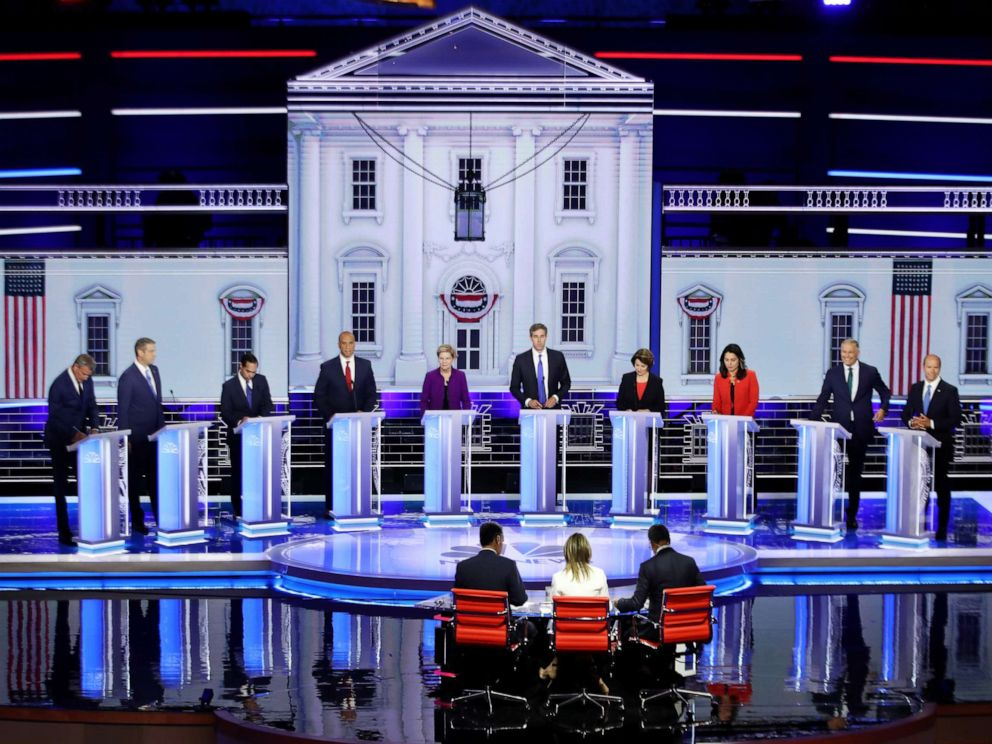 PHOTO: Democratic presidential candidates on night one, June 26, 2019, in Miami.