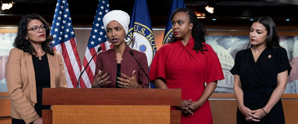 PHOTO: From left, Reps. Rashida Tlaib, Ilhan Omar, Ayanna Pressley and Alexandria Ocasio-Cortez, respond to remarks by President Donald Trump at the Capitol in Washington, July 15, 2019.