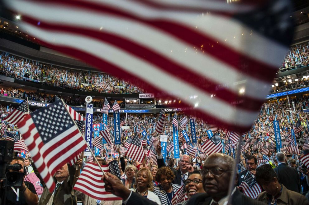 PHOTO: Crowds cheer as Hillary Clinton delivers her keynote address at the Democratic National Convention in Philadelphia, July 28, 2016.