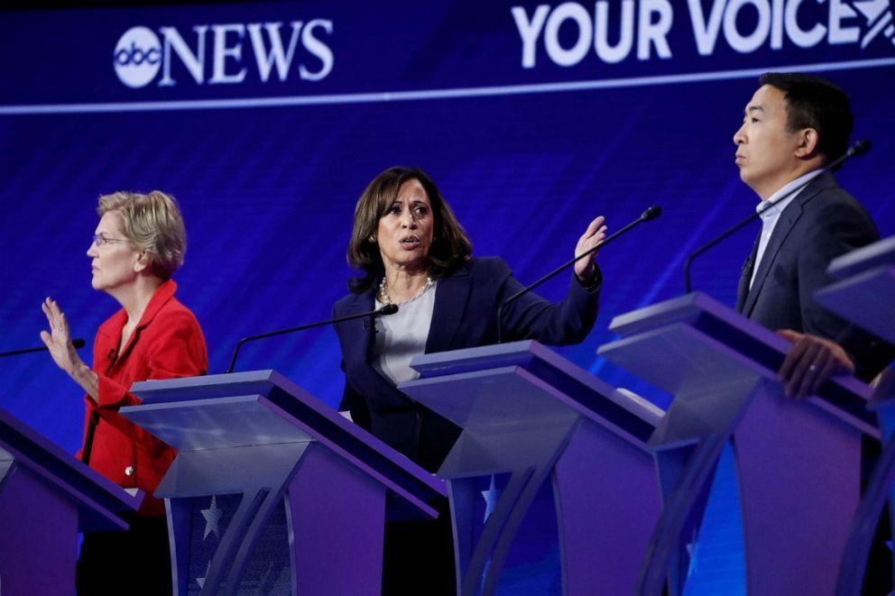 PHOTO: Democratic presidential hopefuls Sen. Elizabeth Warren, Sen. Kamala Harris and Andrew Yang participate in the third Democratic primary debate hosted by ABC News in Houston, Sept. 12, 2019.