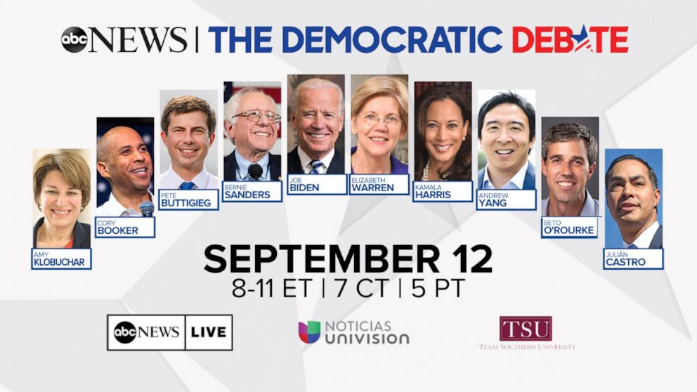 PHOTO: The final lineup for the third Democratic debate is set for a single night in Houston, Sept. 12, 2019.
