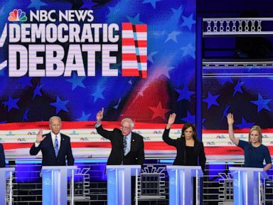 PHOTO: Pete Buttigieg, Joe Biden, Bernie Sanders, Kamala Harris and Kristen Gillibrand participate in the second night of the first 2020 democratic presidential debate at the Adrienne Arsht Center for the Performing Arts in Miami, June 27, 2019.