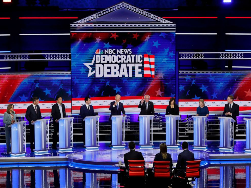 PHOTO: 2020 democratic presidential candidates participate in the second night of the first 2020 democratic presidential debate at the Adrienne Arsht Center for the Performing Arts in Miami, June 27, 2019.
