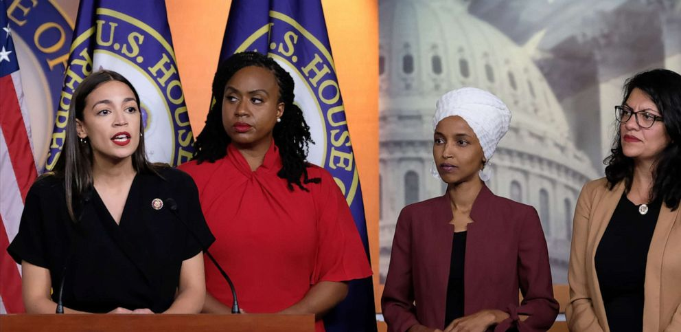 PHOTO: Rep. Alexandria Ocasio-Cortez speaks as Reps. Ayanna Pressley, Ilhan Omar, and Rashida Tlaib listen during a press conference at the U.S. Capitol, July 15, 2019 in Washington, D.C.