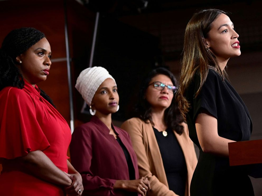 PHOTO: From left, Representatives Ayanna Pressley, Ilhan Omar, Rashida Tlaib and Alexandria Ocasio-Cortez hold a news conference on Capitol Hill in Washington, D.C., July 15, 2019.
