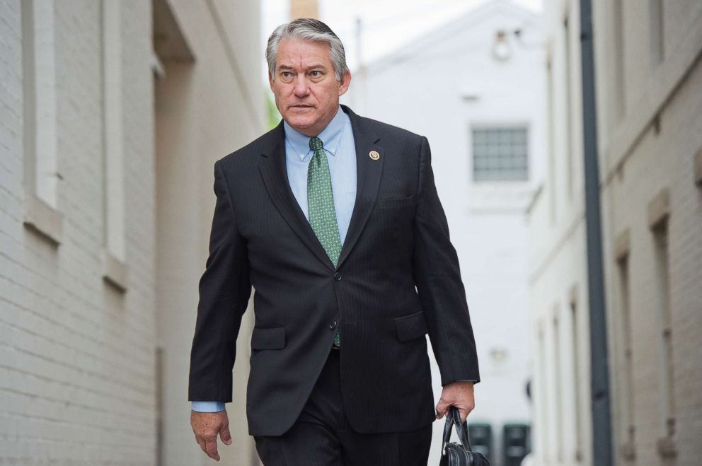 PHOTO: Rep. Dennis Ross makes his way past the Republican National Committee before the arrival of Republican presidential candidate Donald Trump for a meeting with Speaker Paul Ryan and RNC Chairman Reince Priebus, May 12, 2016.