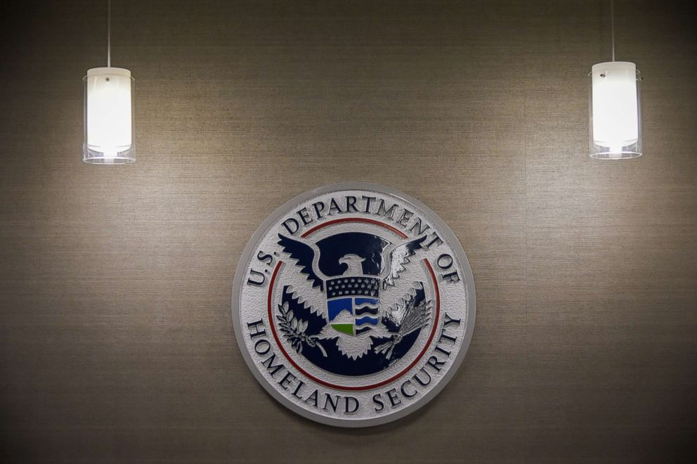 PHOTO: U.S. Department of Homeland Security logo is seen inside press conference room, May 11, 2017, at the U.S. Immigration and Customs Enforcement headquarters in Washington, D.C.