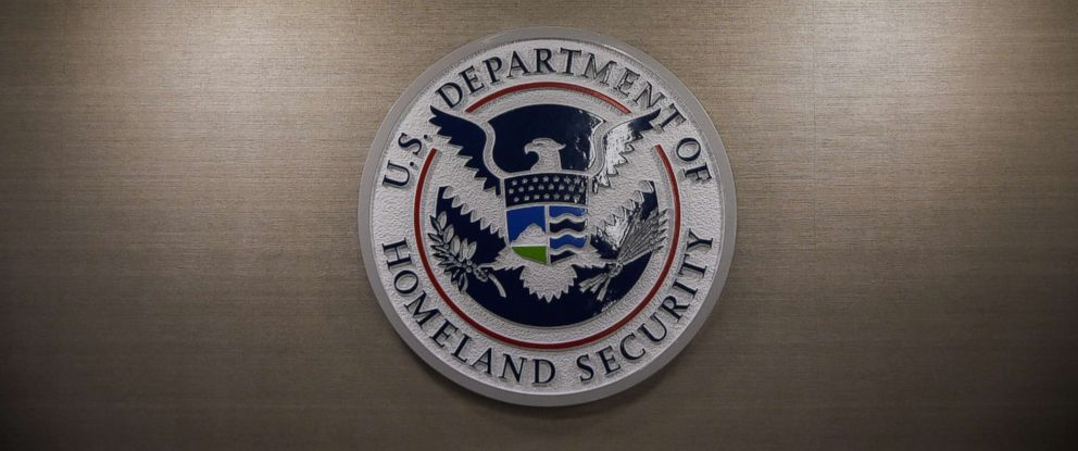 PHOTO: The Department of Homeland Security logo is seen inside the press conference room, May 11, 2017, in Washington, D.C.