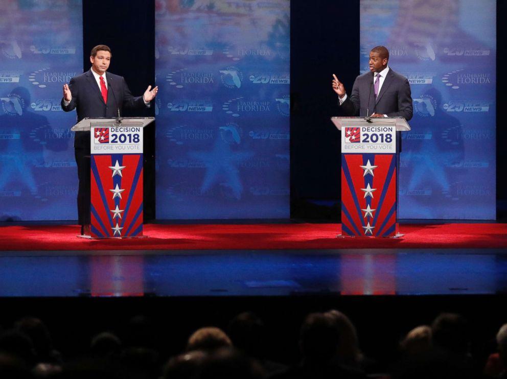 PHOTO: Republican Ron DeSantis and Democrat Andrew Gillum debate at Broward College, Oct. 24, 2018, in Davie, Fla.