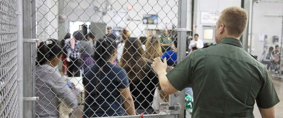 PHOTO: A view of inside U.S. Customs and Border Protection (CBP) detention facility shows detainees inside fenced areas at Rio Grande Valley Centralized Processing Center in Rio Grande City, Texas, June 17, 2018.