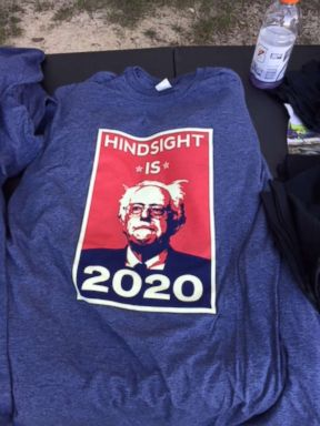 PHOTO: Bernie 2020 t-shirt from a rally, Aug. 5, 2018, in Ypsilanti, Mich.